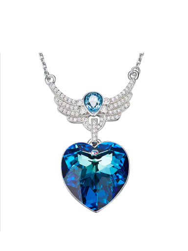 Blue Heart Shaped with Wings Necklace