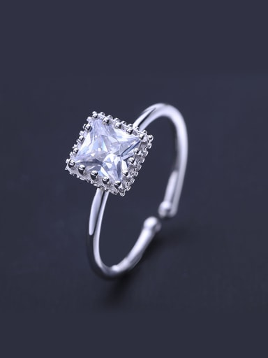 925 Silver Square Zircon Ring