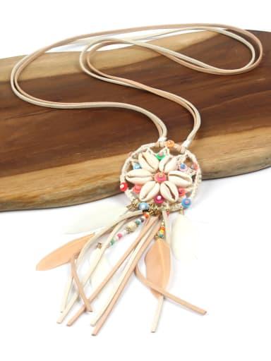 Handmade Retro Style Flower Tassel Pendant Necklace