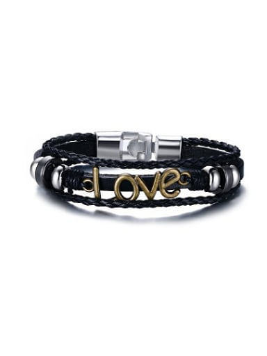 All-match Monogrammed Shaped Artificial Leather Alloy Bracelet