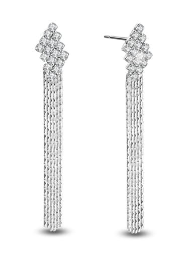 White Gold Plated Tassel Exaggerate Drop Earrings