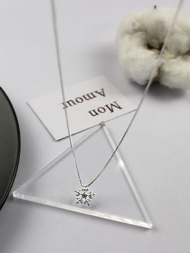 Simple Cubic Zircon-studded Snowflake Silver Necklace