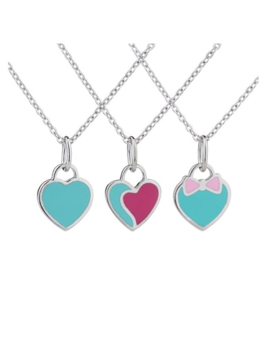 925 Sterling Silver With  Enamel  simple fashion Locket Necklace