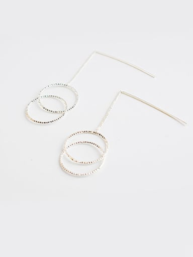 18K Silver Plated Double Round Shaped Earrings