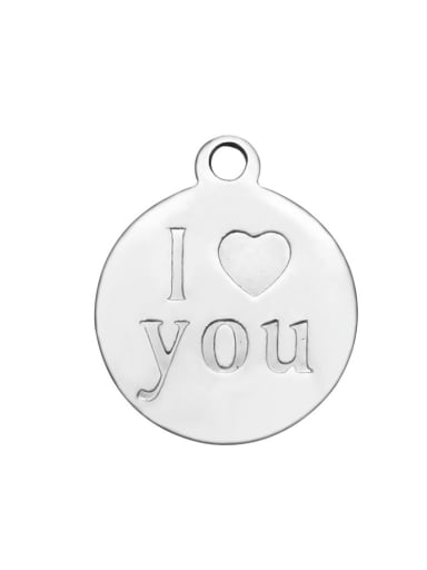 Stainless Steel With Classic Round with I Love you words Charms