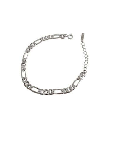 925 Sterling Silver With Platinum Plated Simplistic Smooth Chain Bracelets