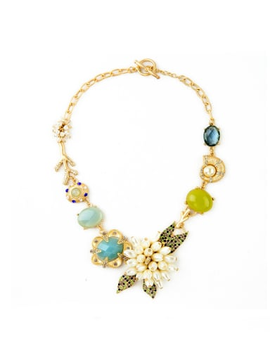 Alloy Gold Plated Luxury Pearl Flower Sweater Necklace