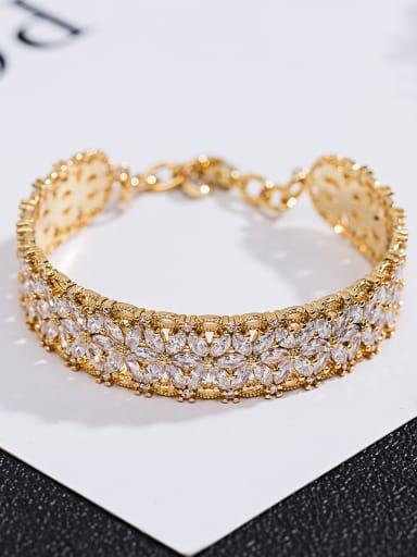 Copper inlay zircon Fashion delicate flower bracelet