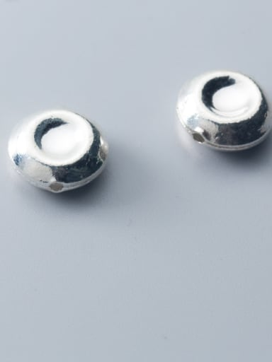 925 Sterling Silver With Silver Plated Simplistic Geometric  Round Beads