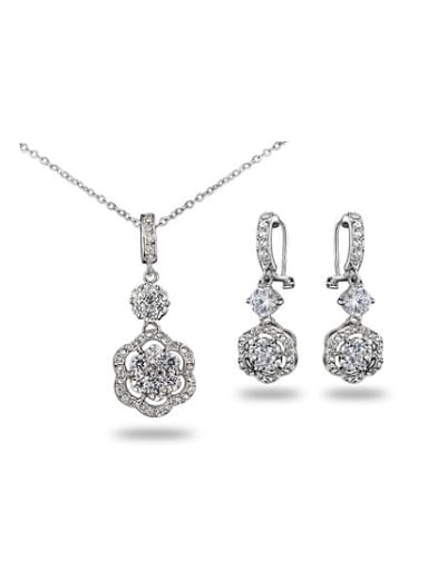 Exquisite 18K White Gold plated Flower Shaped Zircon Two Pieces Jewelry Set