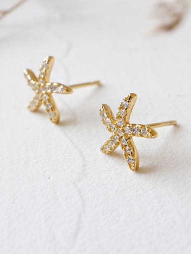Sterling silver minimalist micro-inlay zricon starfish earrings