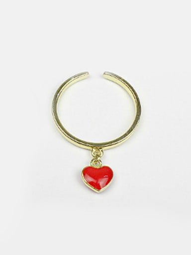 Personalized Red Heart Silver Opening Ring