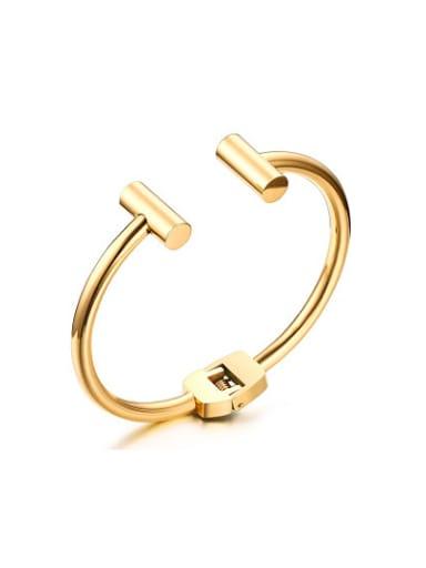 Fashionable Gold Plated Open Design Titanium Bangle