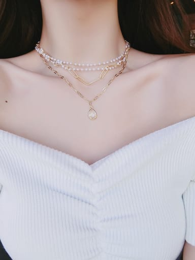Alloy With Champagne Gold Plated Fashion Charm   Multi-layer Necklaces