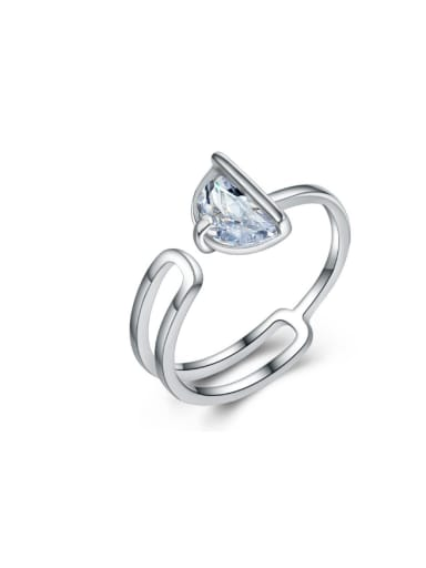 Double Lines Triangle Zircon Opening Ring