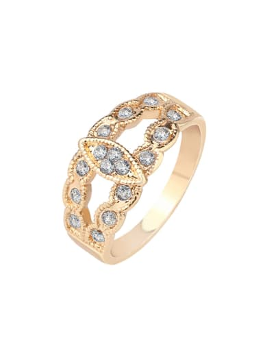 Simple White Crystals Alloy Ring