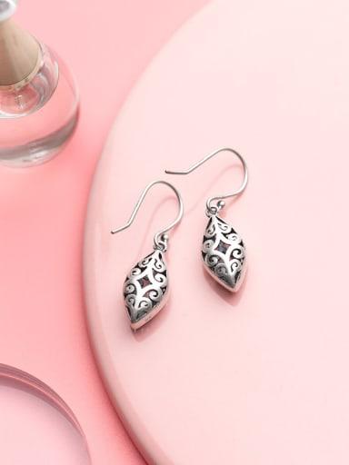 Vintage Geometric Shaped Thai Silver Drop Earrings