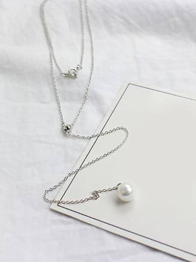 Simple Double Chain White Artificial Pearl Silver Sweater Chain