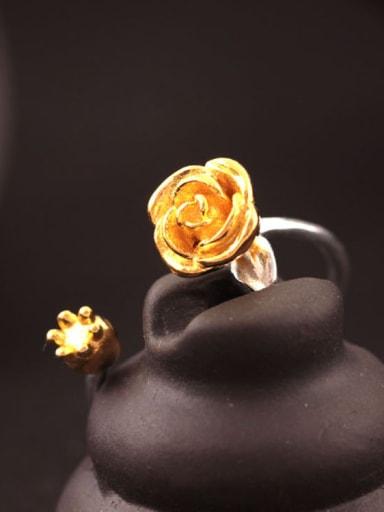 S925 Silver Rose Flowers Opening Ring