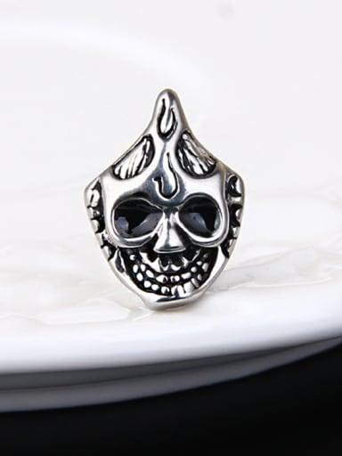 Stainless Steel With Antique Silver Plated Personality Ghost Head Stud Earrings