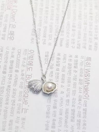 All-match Shell Shaped Artificial Pearl Silver Necklace