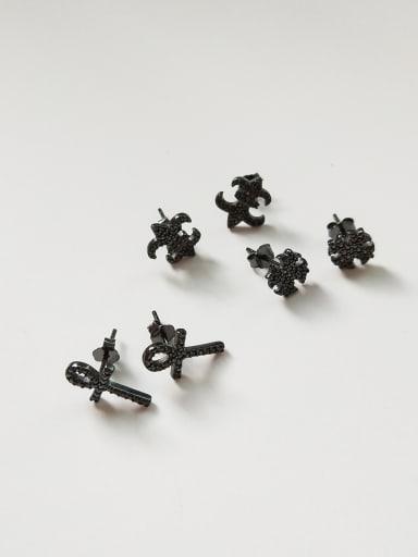 Sterling Silver Black Gun plated minimalist cross stitch Earrings