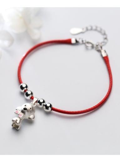 Sterling silver lovely dog hand-woven red thread bracelet