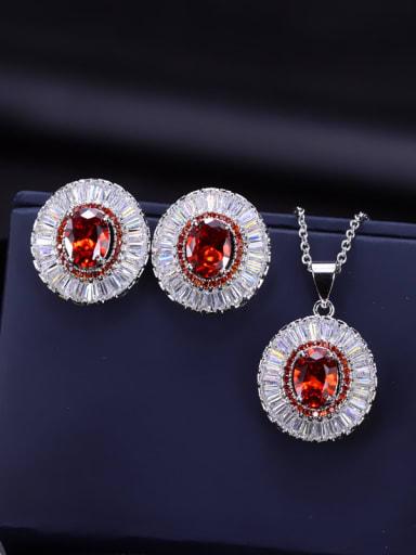 AAA Zircon earring Necklace Jewelry  Set