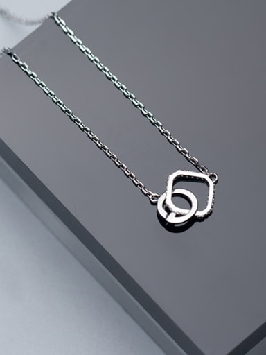 Creative Letter G Shaped S925 Silver Rhinestone Necklace