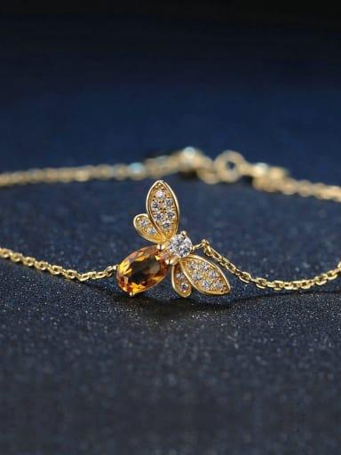 Natural Yellow Crystal Olivine Small Honeybee Bracelet