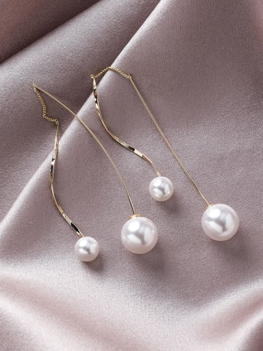 Alloy With Gold Plated Simplistic Chain Threader Earrings