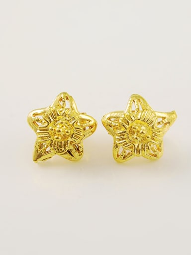 All-match 24K Gold Plated Star Shaped Copper Stud Earrings