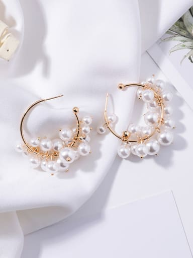 Alloy With Gold Plated Romantic  Imitation Pearl Charm Earrings