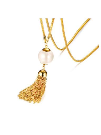 Temperament Gold Plated Artificial Pearl Tassel Sweater Chain