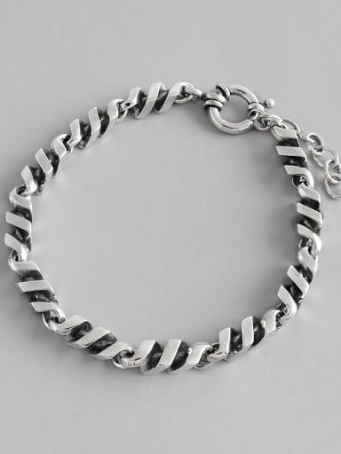 925 Sterling Silver With Antique Silver Plated Simplistic Twisted Chain Bracelets