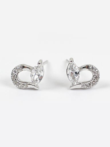 Fashion Tiny Marquise Zirconias Heart Silver Stud Earrings
