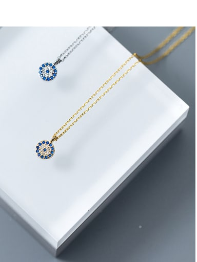 Sterling silver blue eyes round micro-inlaid zircon necklace