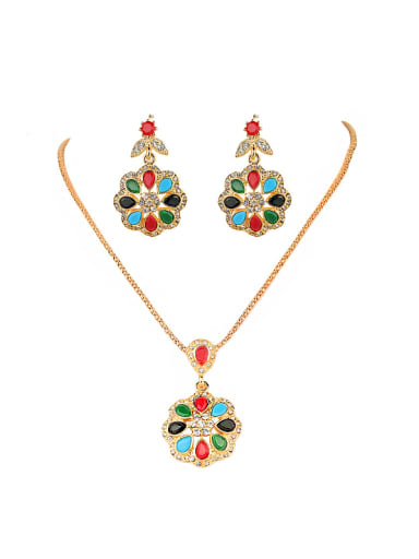 Retro Noble style Colorful Resin stones White Crystals Alloy Two Pieces Jewelry Set