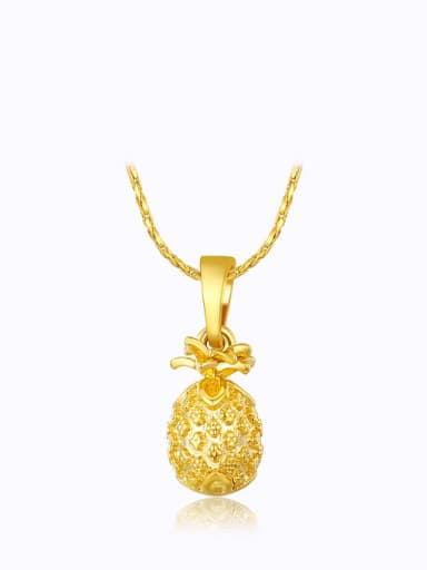 Copper Alloy 23K Gold Plated Fashion Pineapple Necklace