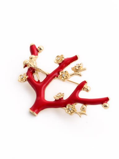 Fashion Red Flowers Shaped Alloy Brooch
