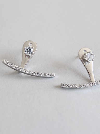 925 Sterling Silver With Platinum Plated Cubic Zirconia Trendy Stud Earrings