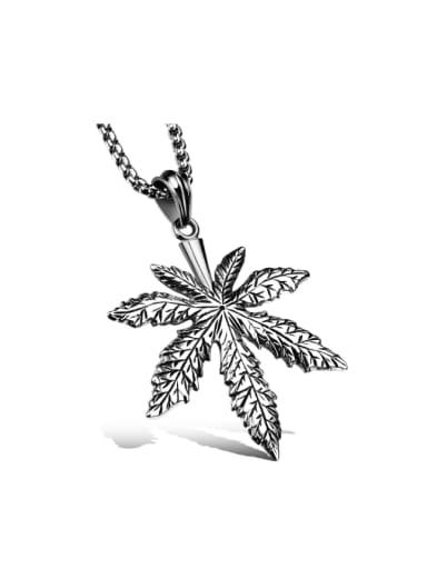 Personalized Maple Leaf Titanium Necklace