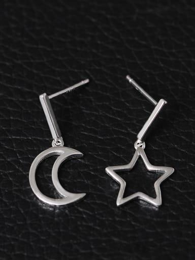 S925 Silver Hollow Moon Star drop earring