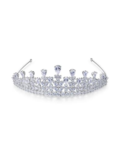 Copper inlay AAA zircon bride luxury crown hair accessory