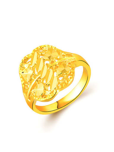Vintage Hollow Flower Shaped 24K Gold Plated Wedding Ring