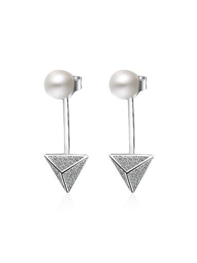 Fashion Imitation Pearl Cubic Zirconias Triangle Stud Earrings