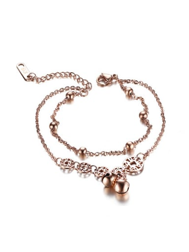 Adjustable Rose Gold Plated Geometric Titanium Bracelet