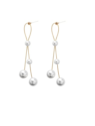 Alloy With Gold Plated Simplistic Artificial Pearl  Tassel Earrings