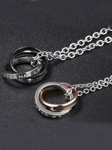 Fashion Double Rings Pendant Titanium Necklace