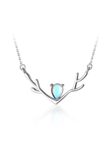 925 Sterling Silver With Platinum Plated Cute Antlers Heart Necklaces
